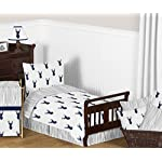 Sweet-Jojo-Designs-Fitted-Crib-Sheet-for-Navy-and-White-Woodland-Deer-BabyToddler-Bedding-Set-Collection-Deer-Print