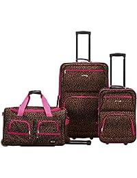 Vara Softside 3-Piece Upright Luggage Set, Pink Leopard, (20/22/28)