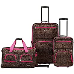 WMB Travel Pro 51c42v2LqeL._SS247_ Rockland Vara Softside 3-Piece Upright Luggage Set, Pink Leopard, (20/22/28)