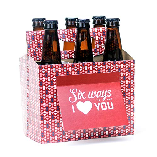 Beer Valentines Day Gifts for Him or Her - Six Pack Greeting Card Box (Set of 4) - Paper Anniversary Gifts for Him, Craft Beer Gifts for Men, Women, Boyfriend, Man Gifts, Beer Lovers (The Best Gift For Valentine For Him)