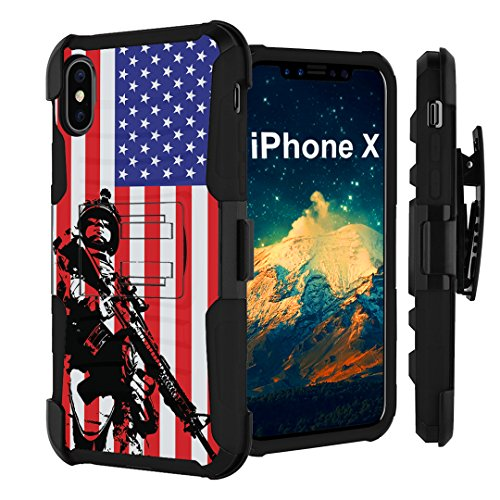 iPhone X Case, Capsule-Case Hybrid Dual Layer Combat Full Armor Style Kickstand Case with Holster Combo (Black) for iPhone X - (Marine USA Flag)
