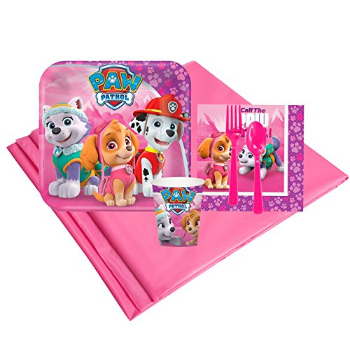 Pink Paw Patrol Childrens Birthday Party Supplies - Tableware Party Pack -