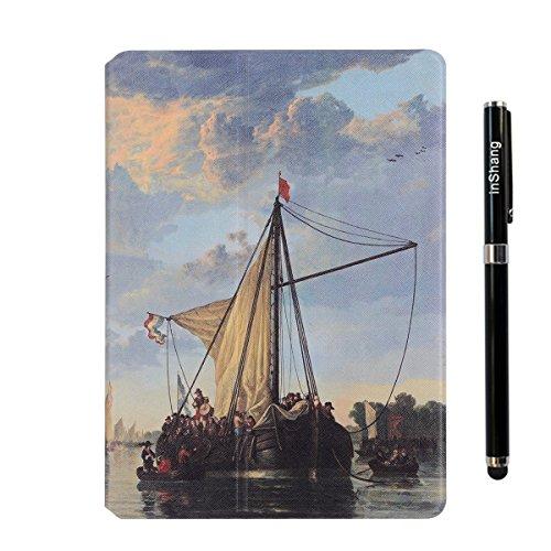 inShang 9.7 inch iPad (2017) Fundas soporte y carcasa para Apple 9.7 inch iPad (2017) ( , smart cover PU Funda ,art style + clase alta 2 in 1 inShang marca negocio Stylus pluma sailboat