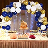 DIY Blue Balloon Garland & Arch Kit, 135pcs Party Decorations Balloon Set, Navy Blue & Golden & Sequin Gold & White Balloons for Baby Shower, Wedding, Birthday, Graduation, Anniversary Organic Party ...