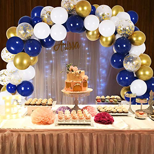 Graduation Table Decorations Ideas (DIY Blue Balloon Garland & Arch Kit, 135pcs Party Decorations Balloon Set, Navy Blue & Golden & Sequin Gold & White Balloons for Baby Shower, Wedding, Birthday, Graduation, Anniversary Organic)