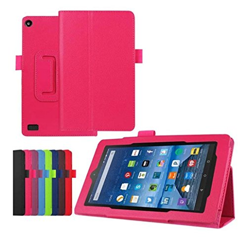 Price comparison product image Sinwoz Fire HD 7 Case [2015], Amazon Kindle Fire HD 7 Case PU Leather Hybrid Protective Case Cover, Full Cover Impact Resistant Bumper Wallet Case Shell (Hot Pink)