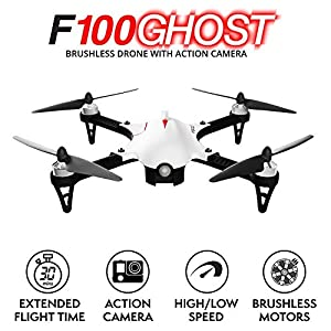F100 Ghost Drone with Camera - 1080p Go Pro Drones for Adults and Kids - RC Brushless Drone with Go Pro Camera Mount, Long Range & Extra Battery from Force1