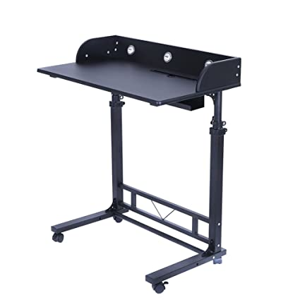 8c4b32984780 Height Adjustable Rolling Laptop Desk Table Computer Desk for Writing  Reading and More Poarmeey (black)