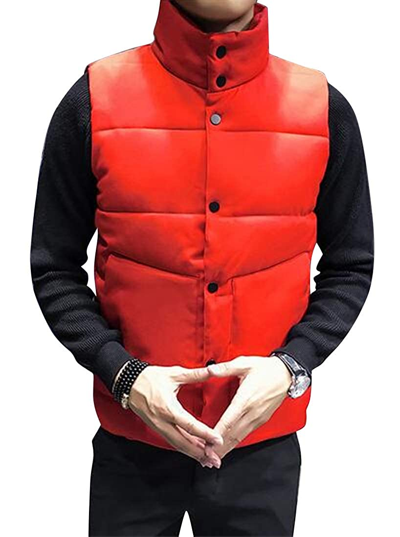 Jotebriyo Men Winter Warm Solid Color Sleeveless Down Quilted Jacket Coat Vest
