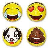 "12"" Asian Emoji Inflatable Water Beach Balls By Emochies (12 Pack of 12 Unique Designs) - BONUS Mini Air Pump - Ideal For Pool, Park, Festivals & Summer Parties"