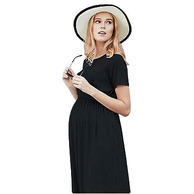 916dd39db0c75 NT Maternity Dresses Clothes for Pregnant Women Short Sleeve Long Dress  Loose Pregnancy Dress Black
