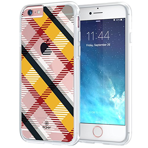 Apple Yellow Plaid (iPhone 6s Plaid Case, True Color Translucent Diagonal Plaid Design Printed on Clear Hybrid Cover Hard + Soft Slim Durable Protective Shockproof TPU Bumper - Yellow / Black / Red)