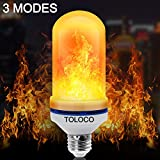 TOLOCO LED Flame Effect Light Bulb E26-1300K 150 Lumens Natural Fire Effect - Simulated Realistic Burning Fire, Warm Flash Flame Light Bulb,Antique Lantern Atmosphere for Bar/Party/Home Decor(1 pcs)