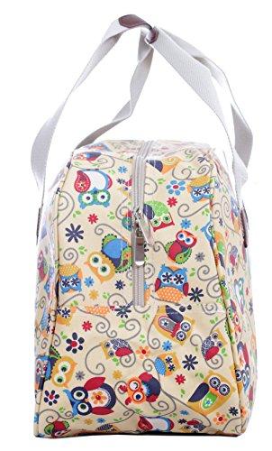à Trousse de main Floral à sac rayures Owl voyage Motif toilette Motif Wonderland toile cirée en wwx8Arqd