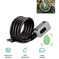 3ft Fingerprint Bike Lock Cable, Hamkaw [Finger is The Key] Anti-Theft Keyless Entry Bicycle Lock 20 Fingerprints Storage Smart & Sturdy Motorbike Lock Cable for Motorcycle, Door, Fence