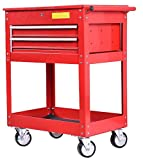 K&A Company Metal Rolling Tool Cart 2 Drawer Cabinet Storage ToolBox Portable Mechanic Lock Red Steel