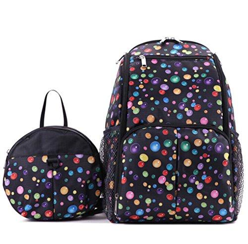 LCY 2piezas Mochila bebé bolso cambiador y bolso cambiador, set negro negro negro