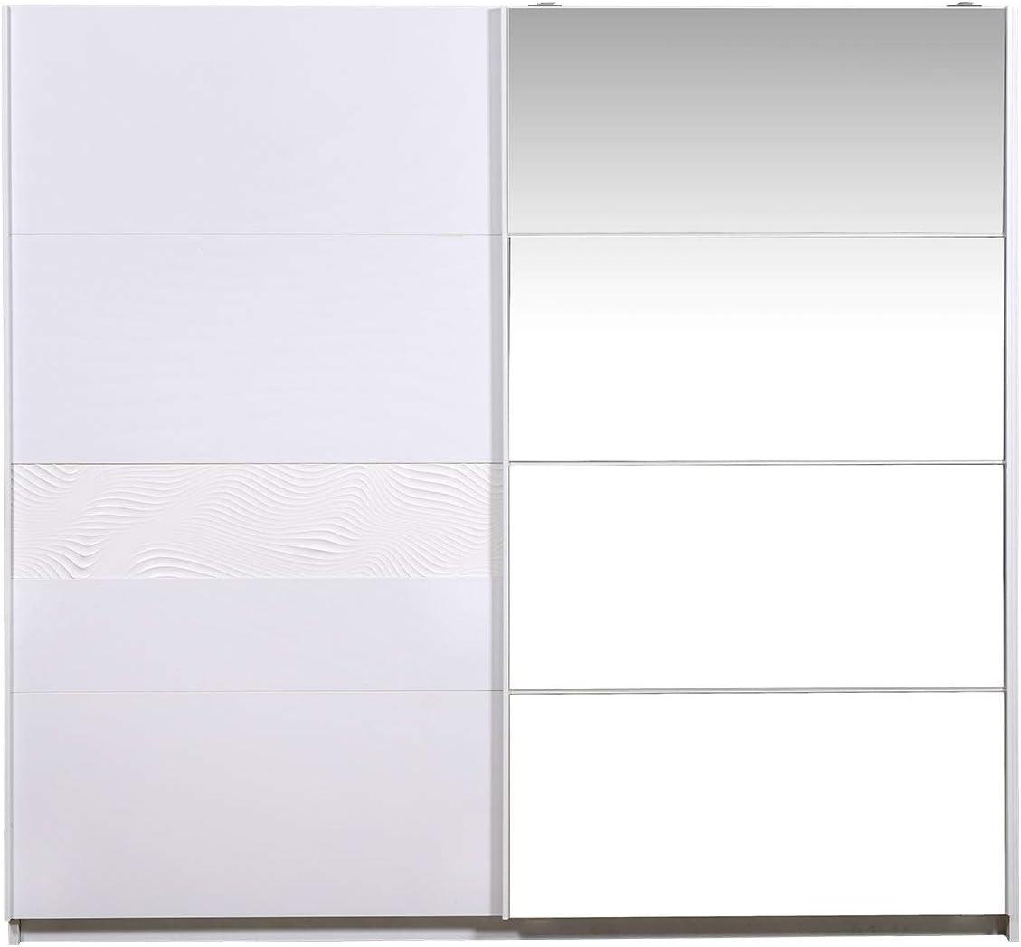 LIGNEUBLE PALMIRE LAVADO BLANCO Dormitorio Moderno - Armario de 2 puertas correderas: Amazon.es: Hogar