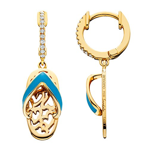 Amoro 14k Yellow Gold Enamel and Diamond Sandal Earrings (0.1 cttw, G-H Color, SI1-2 Clarity)