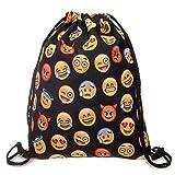 Aigemi Unicorn Print Drawstring Gym Sport Bag, Large Lightweight Gym Sackpack Backpack School Rucksack (Emoji-Black)