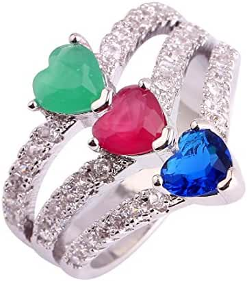 Lingmei 5mm*5mm Heart Cut Cz Created Ruby & Emerald Silver Plated Ring