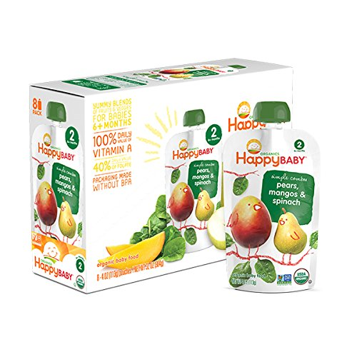 Happy Family happy baby stage 2 Simple Combos - Spinach Mango & Pear , 3.5 Ounce, 8 Pack: Amazon.com: Grocery & Gourmet Food