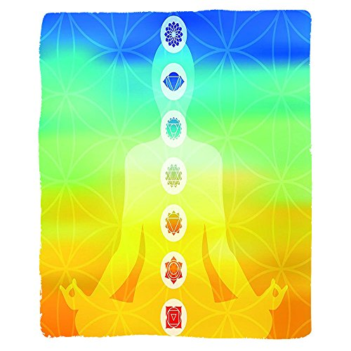 VROSELV Custom Blanket Chakra Gradient Colored Digital Female Human Body with Central Sacred Chakra Points Design Soft Fleece Throw Blanket Multi