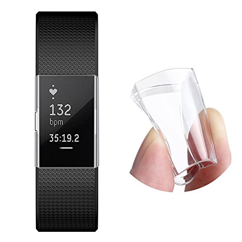 Screen Protector for Fitbit Charge 2, GHIJKL Ultra Slim Soft Full Cover Case for Fitbit Charge 2, Crystal Clear