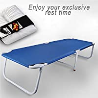 HoweNel Foldable Single Bed, Outdoor Camp, Office Napping Bed, Muti Use, Durable Easy to Assemble, Indoor Outdoor, 182 × 63 × 34cm