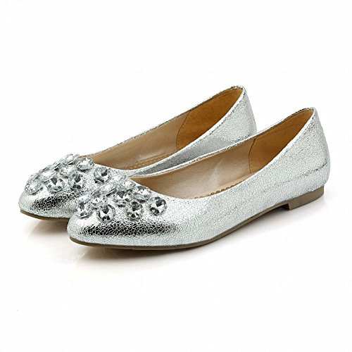 Spectacle Brillance Chic Féminin Brillant Strass Appartements Chaussures Argent