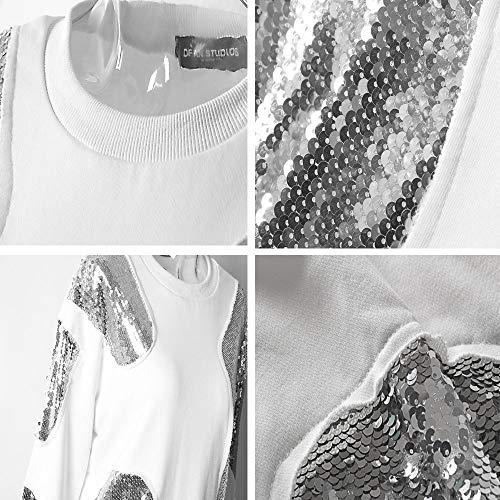 Cuello Suelta Manga Blanco Lentejuelas Conjunto Mkhdd Mujer Top Color Larga White Dividida Sudadera De Redondo 14BqRwx5Zv