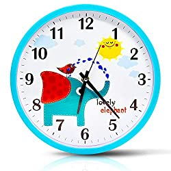 Filota Colorful Wall Clock 10 inch Silent Non-Ticking Quality Quartz Battery Operated Wall Clock, Easy to Read, Blue Frame - Cute Elephant