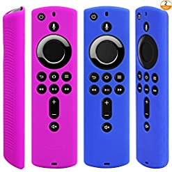 [2 Pack] Silicone Protective Case Compatible with Fire TV Stick 4K Remote (Blue and Purple)