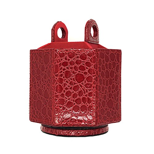 UnionBasic PU Leather Crocodile Pattern 360 Degrees Rotatable Remote Control Organizer, Spinning Mail/Media Desktop Organizer Caddy Holder (Red) - Leather Mail Organizer