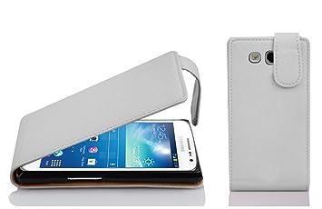 Cadorabo Carcasa Compatible con Samsung Galaxy Express 2 Móvil En Magnesio Color Blanco Funda Carcasa de Textura de Piel Sintética en Flip Case Cover ...