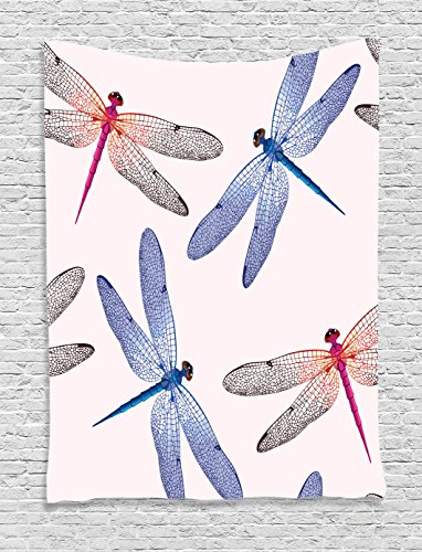 Ambesonne Country Decor Tapestry Wall Hanging, Dragonfly Forms High Detailed Ornate Irregular Macro Retro Simplistic Artsy Print, Bedroom Living Room Dorm Decor, 60 x 80 Inches, Pink Blue (Dragonfly Tapestry Wall Hanging)