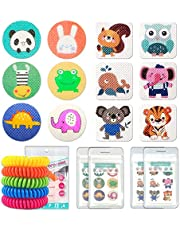 Mosquito Repellent Stickers 240 Pcs Natural Mosquito Patches for Kids and Adults with 5 Pack Individually Wrapped Mosquito Repellent Bracelets for Outdoor Camping Traveling Fishing