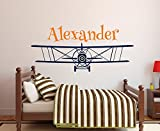 Personalized Airplane Name Wall Decal Custom School Boy's Name Wall Stickers For Kids Room Nursery Wall Art Mural(Size: 43cmX94cm, Color: H606 +H615)