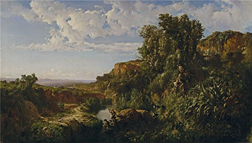 'Marti Alsina Ramon Landscape Ca. 1860 ' Oil Painting, 10 X 18 Inch / 25 X 45 Cm ,printed On High Quality Polyster Canvas ,this High Resolution Art Decorative Prints (Hippie Makeup Tutorial Halloween)