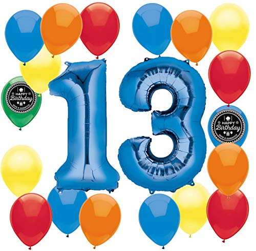 Choose Your Own Age (1-50th) Happy Birthday Party Supplies Balloon Decoration Bundle for Any Birthday Theme (13th Birthday)