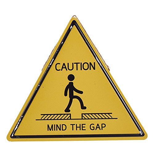 Juvale Caution Sign - Mind The Gap Triangle Design Tin Sign, Wall Hanging, 13.5 x 11.8 inches