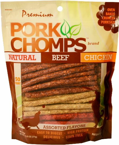 Premium Pork Chomps Munchy Sticks Assorted Natural, Beef & Chicken 50ct
