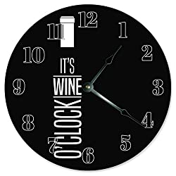 10.5 IT'S WINE O'CLOCK Wine Bottle Design Clock - Words Clock - Large 10.5 Wall Clock - Home Décor Clock