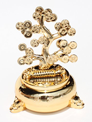 KT Feng Shui Money Tree Solar ~ Fortune Coin Dancing Tree / Plant Flip Flap for Great Luck Wealth Prosperity Feng Shui Solar B11942