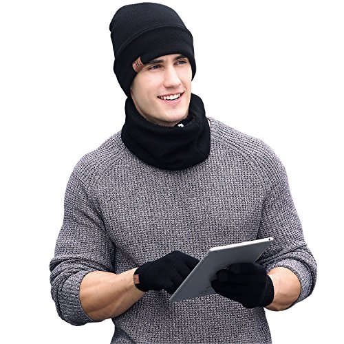 ARNIYA Winter Warm Knit Hat+Scarf+Touch Screen Gloves ,Unisex 3 Pieces Knitted Set (Mens Set Hat And Gloves)
