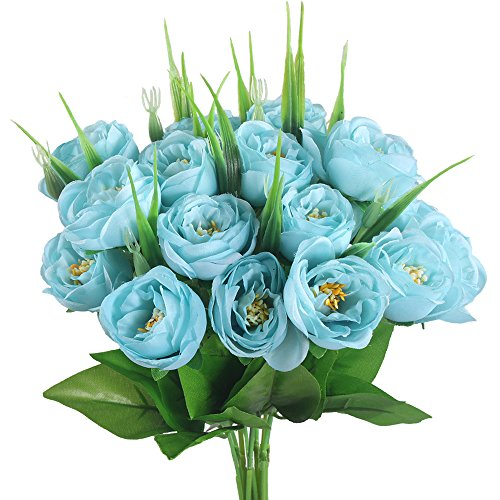 Desk Bush Mission - GTidea 2 Bouquets Artificial Silk Rose Flowers Faux Bushes Arrangements Home Kitchen Table Wedding Party Decor Blue