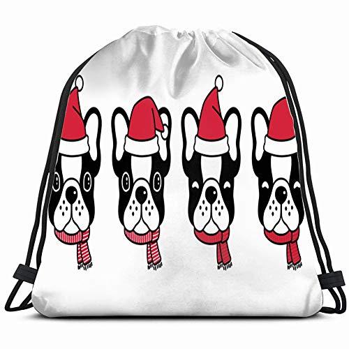 Santa Bulldogs Pillow (dog french bulldog christmas santa animals wildlife signs Special Backpack Sack Bag Gym Bag For Men & Women 17X14 Inch)