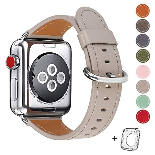 Compatible for Apple Watch Band 38mm 40mm Genuine Leather Band Replacement Compatible with Apple Watch Series 5/4 /3/2 /1, Sport and Edition, Khaki Grey Band (Khaki Grey+Silver Buckle, 38mm40mm)
