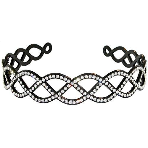 On Sale Now! Plastic Headband with Crystal Rhinestones , Criss Cross Design in Crystal with Black - Black Rhinestone Plastic