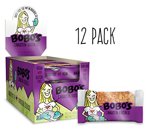 (Bobo's Oat Bar (Cinnamon Raisin, 12 Pack of 3 oz Bars) Gluten Free Whole Grain Rolled Oat Bar - Great Tasting Vegan On-The-Go Snack, Made in the USA)